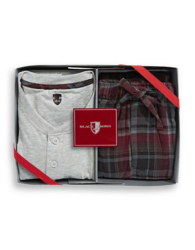 Black Brown 1826 Boxed Cotton Flannel Pyjamas-RED-Medium