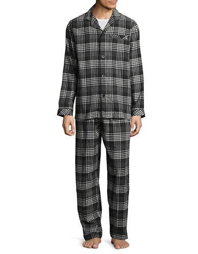 Black Brown 1826 Flannel Cotton Pajamas-BLACK-Small