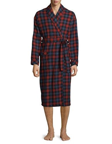 Black Brown 1826 Cotton Plaid Robe-RED-Large/X-Large