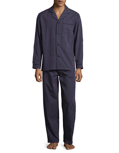 Black Brown 1826 Stripe Cotton Poplin Pajamas-BLACK-Small