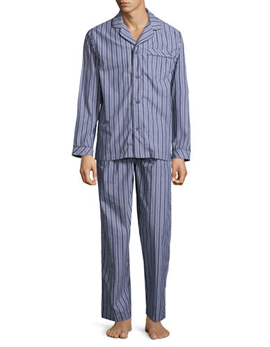 Black Brown 1826 Stripe Cotton Poplin Pajamas-BLUE-Large