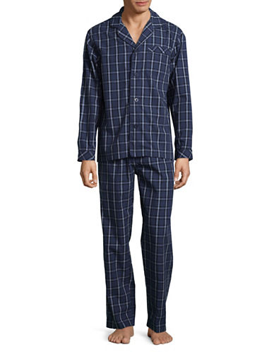 Black Brown 1826 Checkered Cotton Poplin Pajamas-BLUE-Medium