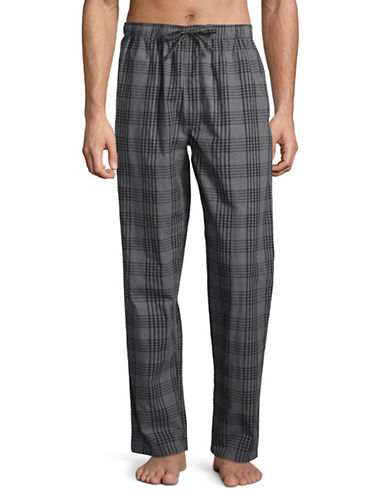 Black Brown 1826 Plaid Lounge Cotton Pajama Pants-GREY-X-Large