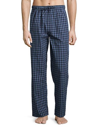 Black Brown 1826 Plaid Lounge Cotton Pajama Pants-BLUE-Medium
