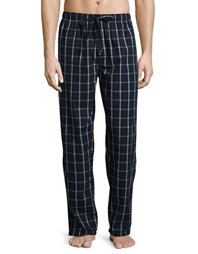 Black Brown 1826 Checkered Lounge Cotton Pajama Pants-BLUE-X-Large
