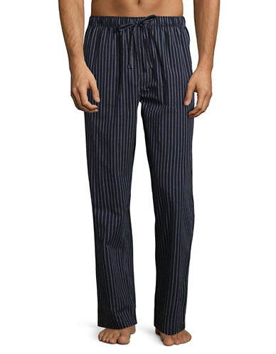 Black Brown 1826 Pinstripe Lounge Cotton Pajama Pants-BLUE-Large
