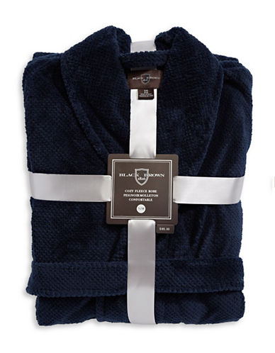 Black Brown 1826 Plush Fleece Robe-NAVY-Small/Medium