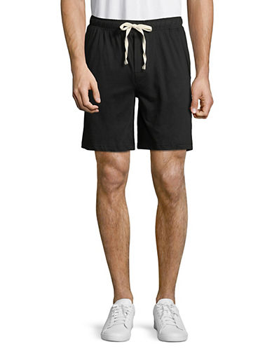 Black Brown 1826 Knit Cotton Lounge Shorts-BLACK-Large 89890983_BLACK_Large
