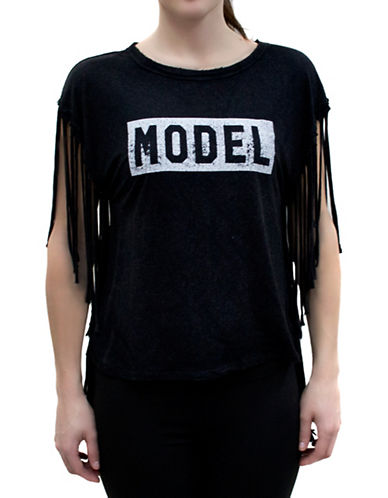 Bassike The Fringe Tee-BLACK-Medium 88315153_BLACK_Medium