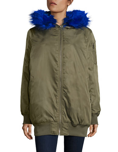 Design Lab Lord & Taylor Bright Faux-Fur Parka Jacket-GREEN-Medium 88665735_GREEN_Medium