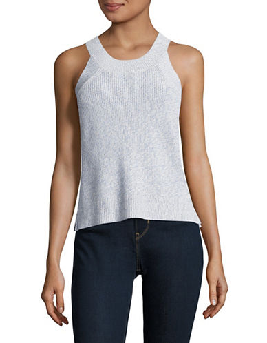 Design Lab Lord & Taylor Marl Knit Tank Top-BLUE-X-Small 89000977_BLUE_X-Small