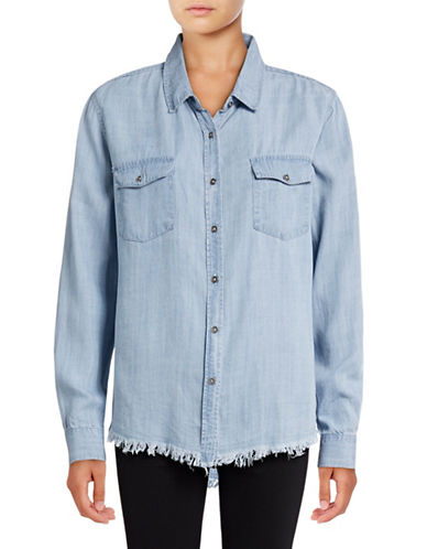 Design Lab Lord & Taylor Frayed Hem Chambray Shirt-BLUE-X-Small