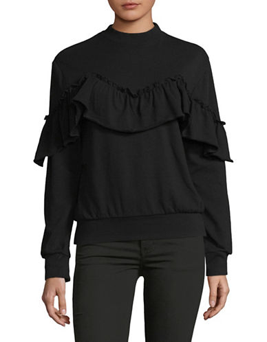 Basik Ruffled Cotton Pullover-BLACK-Large 89968231_BLACK_Large