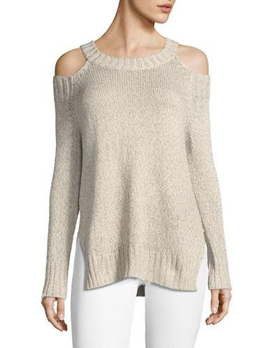 Design Lab Lord & Taylor Cold-Shoulder Breton Sweater-BEIGE-Medium