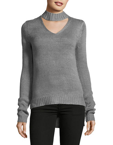 Design Lab Lord & Taylor Tape Yarn Choker Top-GREY-Large