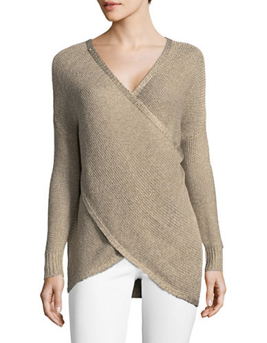 Design Lab Lord & Taylor Surplice Long-Sleeve Sweater-BEIGE-X-Small
