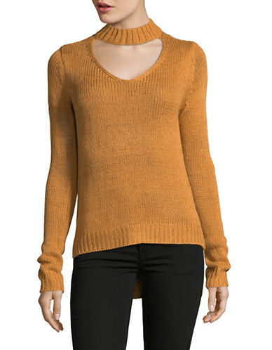 Design Lab Lord & Taylor Tape Yarn Choker Top-BROWN-Small