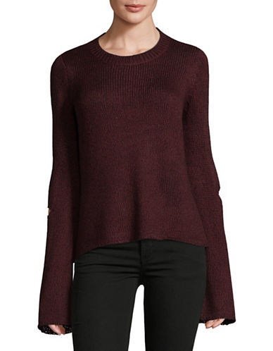 Design Lab Lord & Taylor Tape Yarn Distressed Sweater-RED-Small