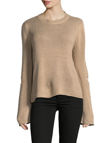 Design Lab Lord & Taylor Tape Yarn Distressed Sweater-BEIGE-X-Small