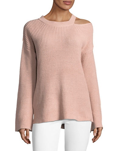 Design Lab Lord & Taylor Shaker Slit Sweater-PINK-Medium