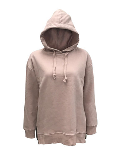 Bassike Drawstring Hoodie-ROSE-Medium