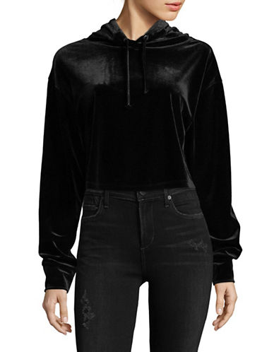 Basik Velour Knit Crop Hoodie-BLACK-X-Small 89968244_BLACK_X-Small