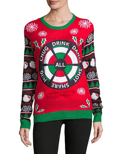 Design Lab Lord & Taylor Miss Dazzle Drinking Game Christmas Patch Sweater-RED-X-Small