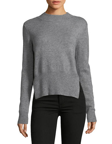 Design Lab Lord & Taylor Reversible Choker Sweater-GREY-X-Small