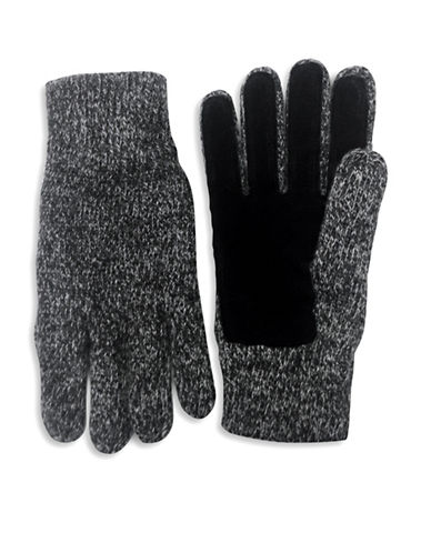 London Fog Knit Wool Gloves-CHARCOAL-One Size