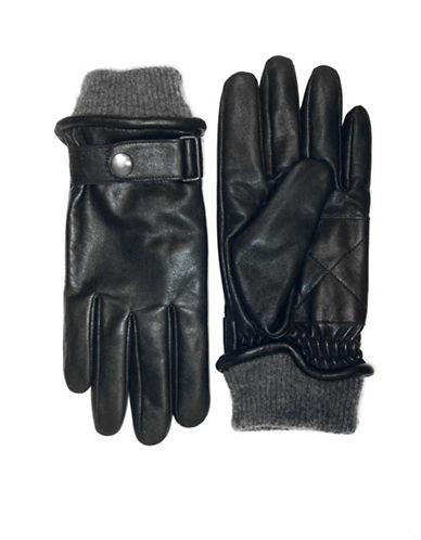 London Fog Buckled Leather Gloves with Knit Cuff-BLACK-X-Large