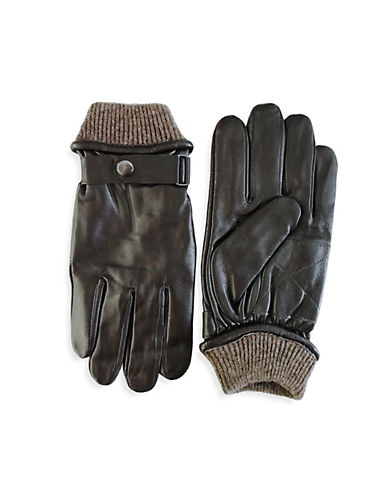 London Fog Buckled Leather Gloves with Knit Cuff-BROWN-Medium