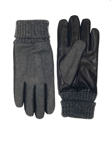 London Fog Wool and Leather Gloves-BLACK-X-Large