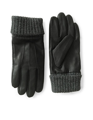 London Fog Knit Cuff Leather Gloves-BLACK-Medium