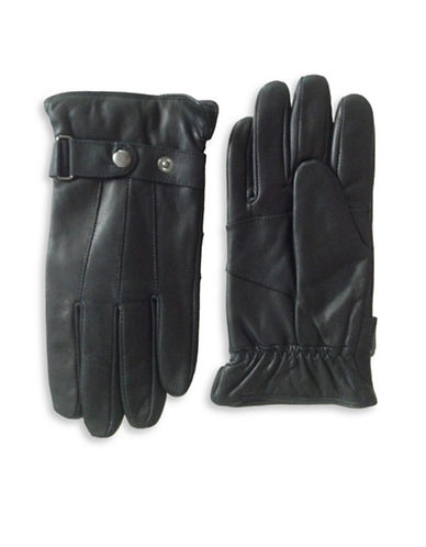 London Fog Thinsulate Leather Gloves-BLACK-Large
