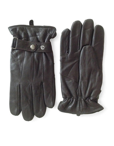 London Fog Thinsulate Leather Gloves-BROWN-Medium