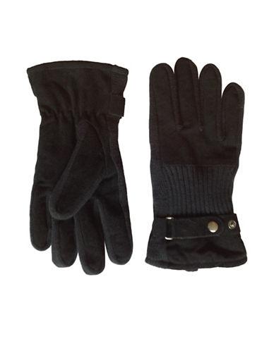 London Fog Combination Split Gloves-BLACK-Medium