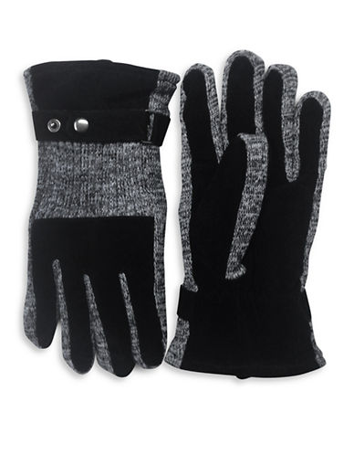 London Fog Combination Split Gloves-GREY-Large