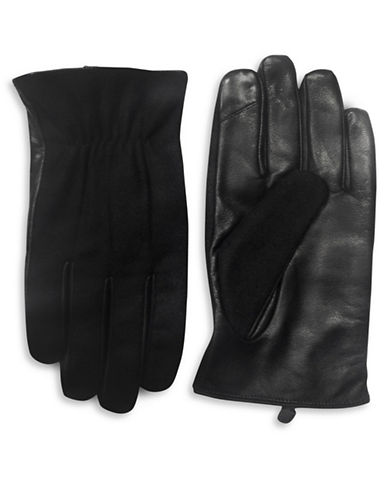 London Fog Leather Panel Gloves-BLACK-Small