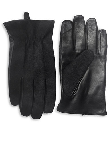London Fog Leather Panel Gloves-GREY-Large