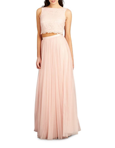 Donna Morgan Alexis Two-Piece Lace and Tulle Gown-PEARL PINK-6