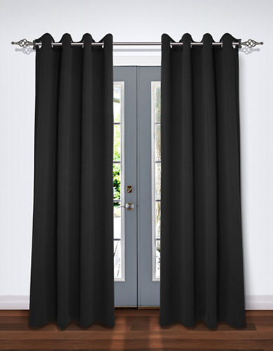 Home Studio Pack of Two Crinkle Effect Drape Panels-BLACK-84 inches