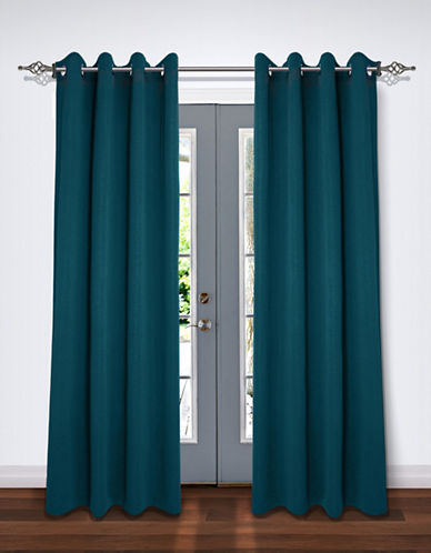 Home Studio Pack of Two Crinkle Effect Drape Panels-TEAL-84 inches