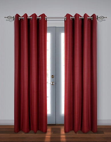 Home Studio Set of Two Stripe Black Out Drape Panels-WINE-84 inches