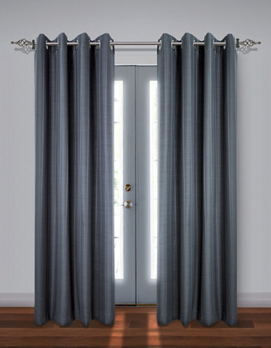 Home Studio Set of Two Stripe Black Out Drape Panels-GREY-84 inches