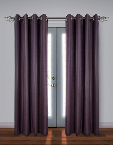 Home Studio Set of Two Stripe Black Out Drape Panels-PLUM-84 inches