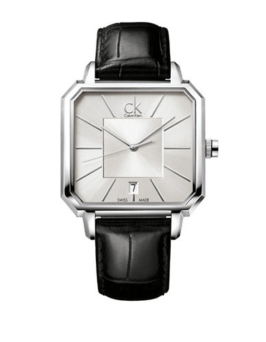 Calvin Klein Concept Square Silvertone Leather Strap Watch-BLACK-One Size