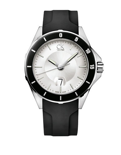 Calvin Klein Play Silvertone Leather Strap Watch-BLACK-One Size