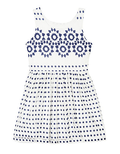 Pippa & Julie Crochet Trim Skater Dress-BLUE-10