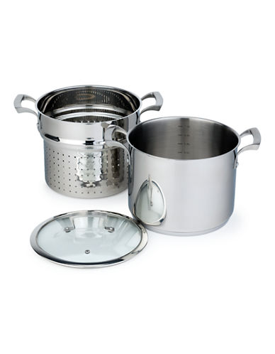 Paderno 8 Litre Stock Pot with Steamer-STAINLESS STEEL-8