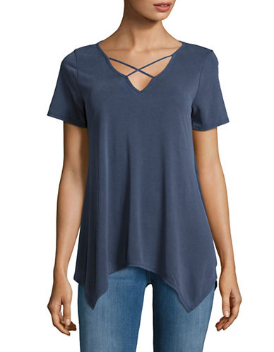 Design Lab Lord & Taylor Cross-Strap T-Shirt-BLUE-Small 89240127_BLUE_Small